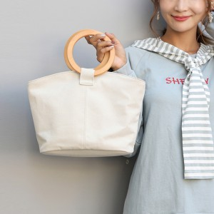 Ring Handle Canvas Traveler Handbags - White