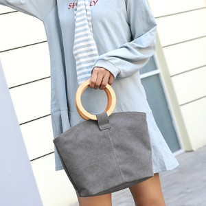 Ring Handle Canvas Traveler Handbags - Grey