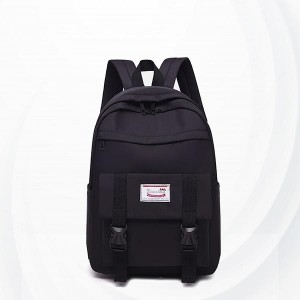Buckle Closer Multi Compartments Backpacks - Black