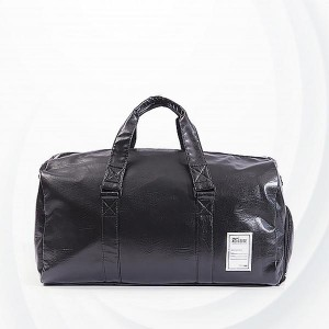 Large Capacity Long Stripes Pu Travel Bags - Black