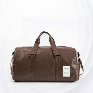 Large Capacity Long Stripes Pu Travel Bags - Coffee