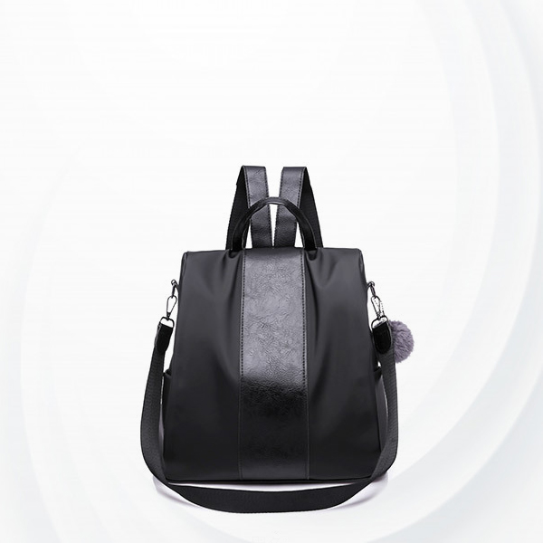 Leather Patch Women Formal Backpack - Black