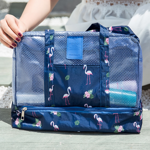Printed Net Patched Traveller Bags - Blue