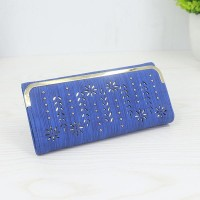 Floral Pattern Long Length Elegant Female Clutches - Blue