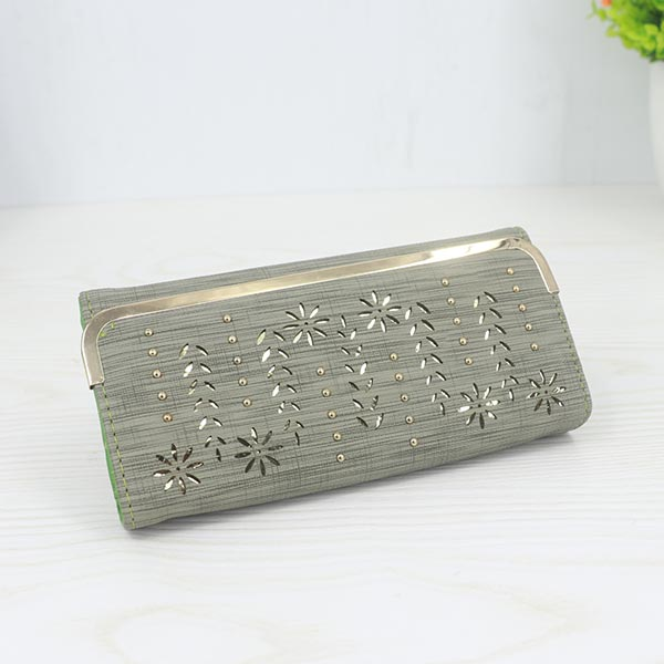 Floral Pattern Long Length Elegant Female Clutches - Green