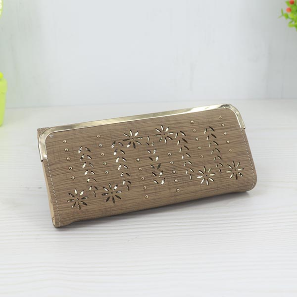 Floral Pattern Long Length Elegant Female Clutches - Brown