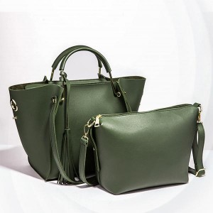 Solid Plain Pattern Two Piece Handbags Set - Green