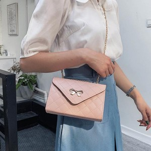 Patch Work Bow Logo Chain Strap Messenger Bags - Pink