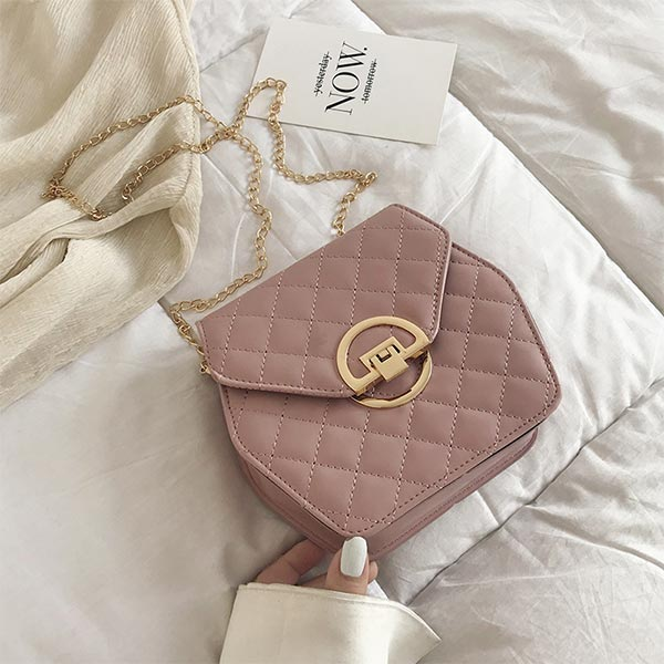 Party Style Diagonal Magnetic Lock Shoulder Bags - Pink