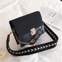 Square Shaped Trendy Women Messenger Bag - Black