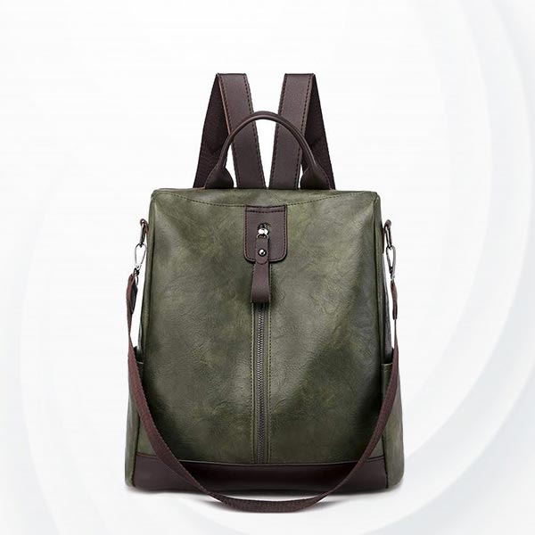 Anti-theft Pu Leather Student Shoulder Bag - Green