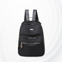 Solid Pattern Nylon Double Handheld Backpacks - Black