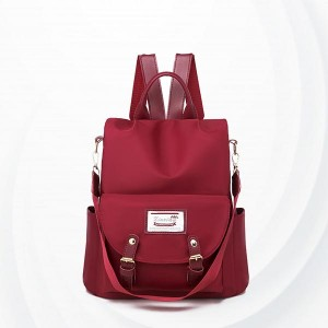 Buckle Closer Long Straps Solid Pattern Backpacks - Red