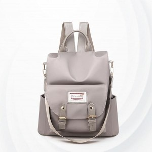 Buckle Closer Long Straps Solid Pattern Backpacks - Grey