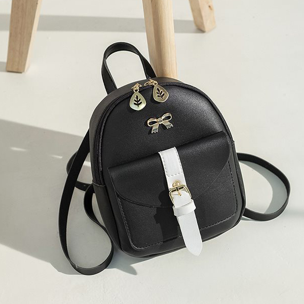 Leaf Zipper Buckle Pocket Mini Backpacks - Black
