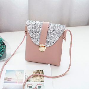Texture Vertical PU Leather Shoulder Bags - Pink