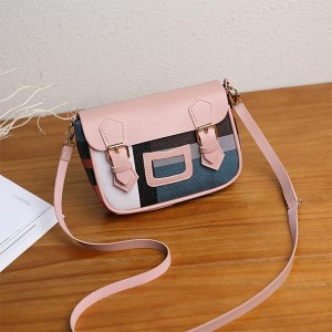 Double Buckle Contrast Ladies Mini Messenger Bags - Pink