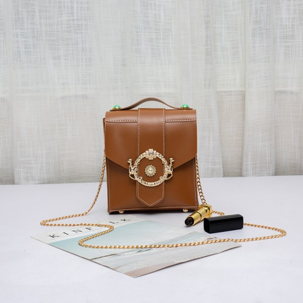 Square PU leather Women Fashion Messenger Bags - Brown