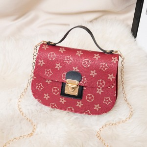 Stars Printed Round Corners Buckle Messenger Bags - Red