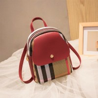 Contrast Retro Versatile Zipper Shoulder Bag - Red