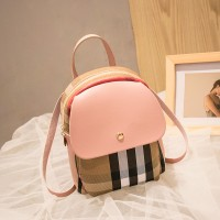 Contrast Retro Versatile Zipper Shoulder Bag - Pink
