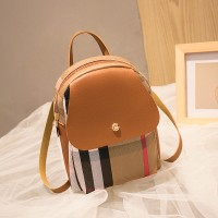 Contrast Retro Versatile Zipper Shoulder Bag - Brown