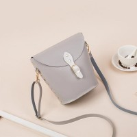 Elegant Rivet Bucket Fashion Wild Messenger Bags - Gray