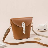 Elegant Rivet Bucket Fashion Wild Messenger Bags - Brown