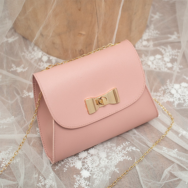 Bow Patched Twist Lock Chain Messenger Bags - Pink