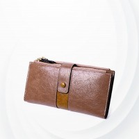 Zipper Closure Synthetic Leather Female Money Wallet - Pink