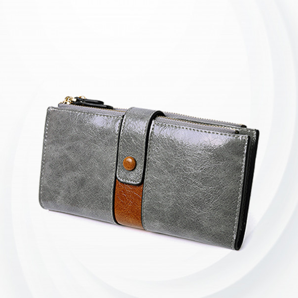 Zipper Closure Synthetic Leather Female Money Wallet - Gray