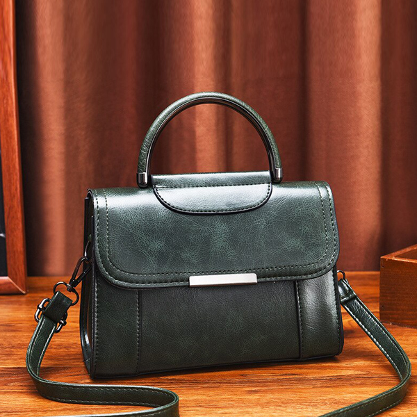 Leather Textured Magnetic Lock Messenger Bags - Green