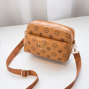 Trendy Pu Leather Floral Zipper Messenger Bag - Brown