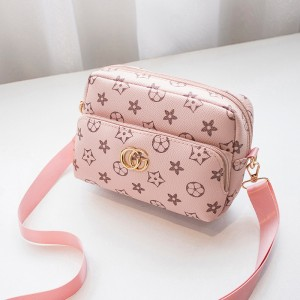 Trendy Pu Leather Floral Zipper Messenger Bag - Pink