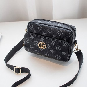 Trendy Pu Leather Floral Zipper Messenger Bag - Black