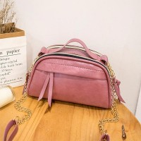 Zipper Leisure Chain Two Compartments Women Handbag - Pink