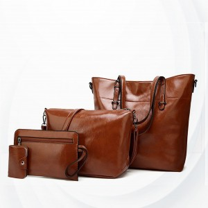 Shiny Synthetic Leather Four Pieces Handbags Set - Brown