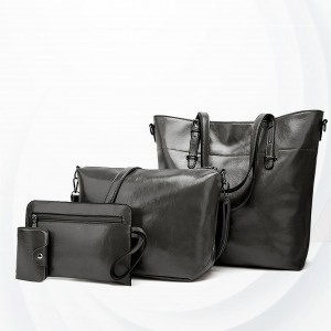 Shiny Synthetic Leather Four Pieces Handbags Set - Black
