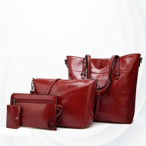 Shiny Synthetic Leather Four Pieces Handbags Set - Red