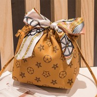 Stars Texture Scarf Strap Casual Messenger Bag - Yellow