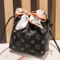 Stars Texture Scarf Strap Casual Messenger Bag - Black