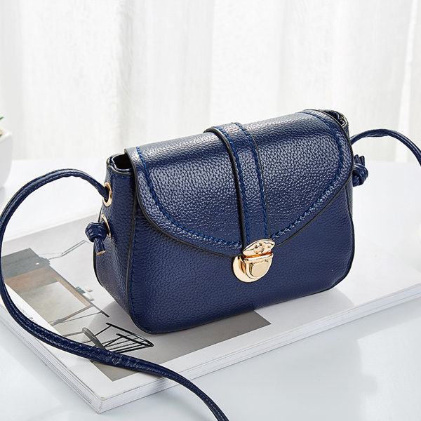 Glossy Press Lock PU Leather Messenger Bag - Blue