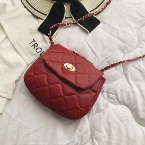 Chain With Leather Strap Patch Work Shoulder Bags - Red