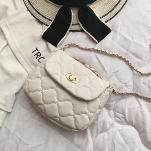 Chain With Leather Strap Patch Work Shoulder Bags - White
