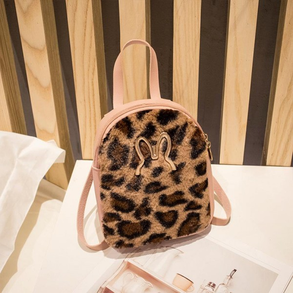 Plush Rabbit Leopard Texture Shoulder Backpacks - Pink