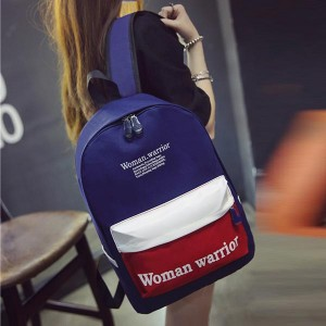 Student Casual Backpack Zipper Pu Leather Bags - Blue