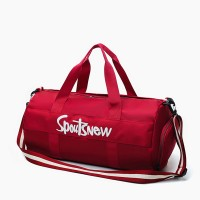 Text Prints Nylon Cylinder Traveler Bags - Red
