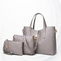 Embossed Zipper Three Pcs Ladies Handbags Set - Gray