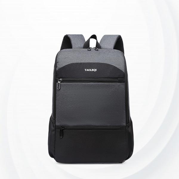 Dual Color Multi Pockets Large Backpacks - Dark Grey