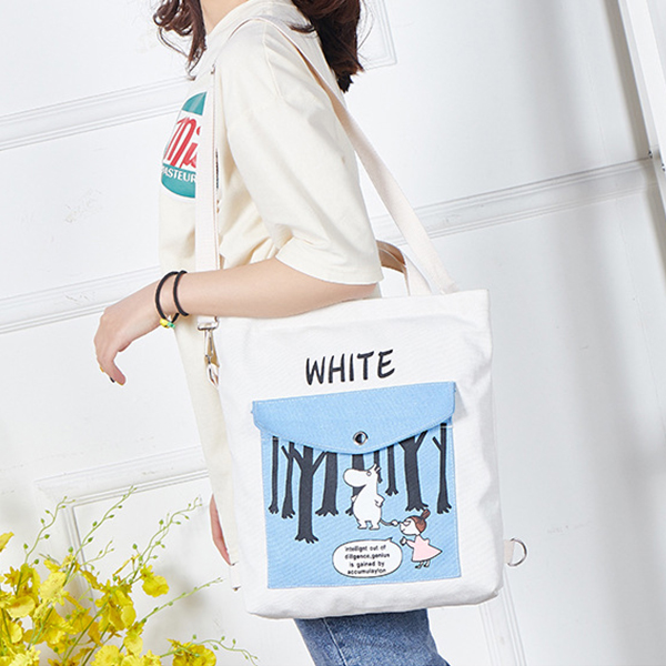 Cartoon Prints Large Space Casual Shoulder Bags - White